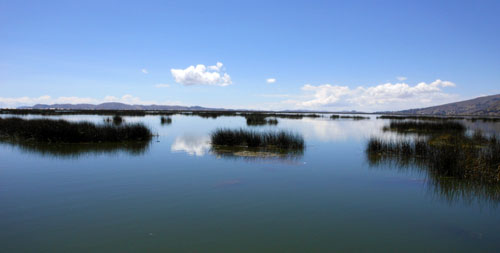 Peru, Lake Titicaca - calm waters on the way to the Floating Uros Islands