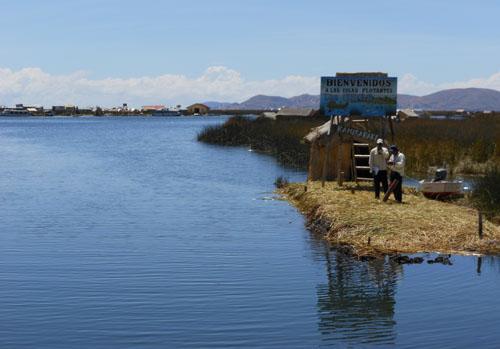 Peru, Lake Titicaca Floating Uros Islands - welcome