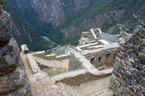 Peru, Machu Picchu Archaeological Site - lower levels and plenty of steps down