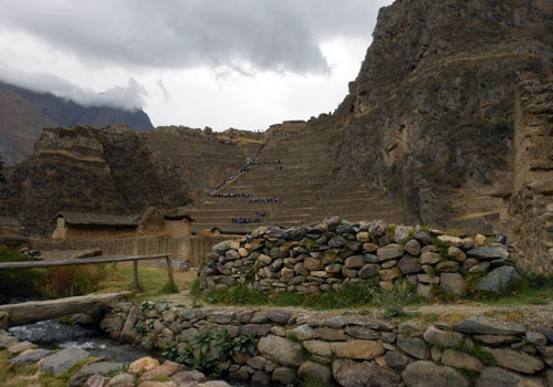 Peru, Ollantaytambo Archaeological Site - overview from the entrance
