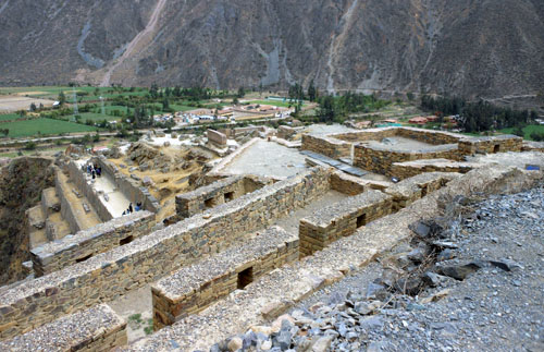Peru, Ollantaytambo Archaeological Site - overview from the top
