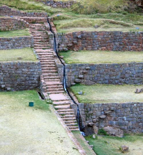 Peru, Tipon Archaeological Site - multi-level aqueduct