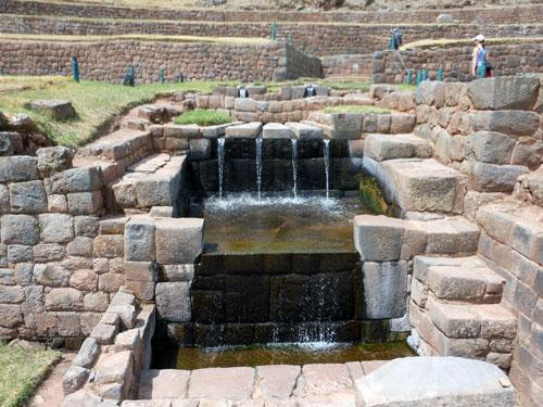 Peru, Tipon Archaeological Site - the main Inca aqueduct