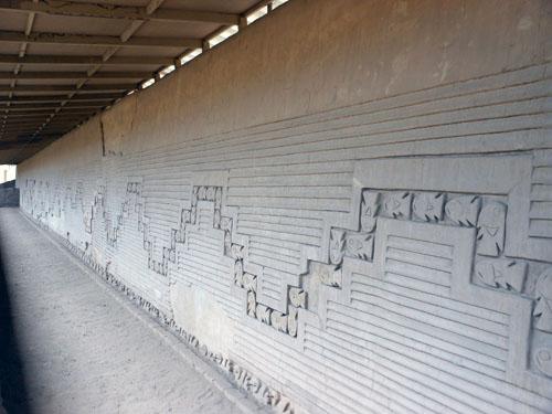 Peru, Trujillo - Chan Chan Archaeological Site corridor of fish and birds