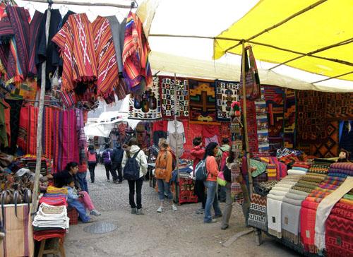 Pisac market - colorful stalls