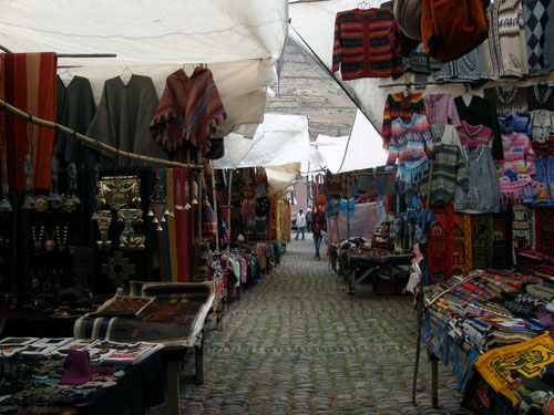 Pisac market - more colorful stalls