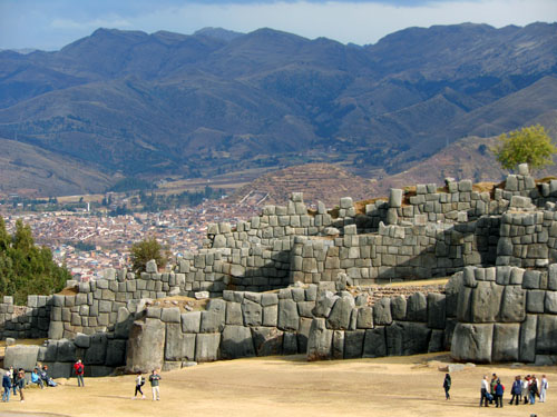 Sacsayhuaman - Inca ruins - the walls with Cuzco in the background