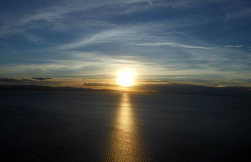 Bolivia, Copacabana - sunset from Cerro Calvario over Lake Titicaca
