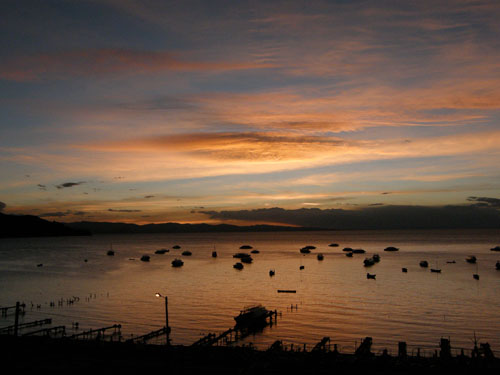 Bolivia, Copacabana - sunset over Lake Titicaca
