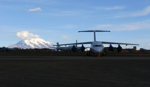 Bolivia, La Paz - El Alto airport with Illimani in the background