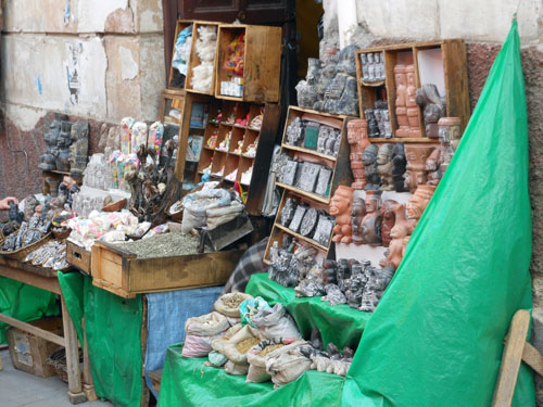 Bolivia, La Paz - one of the stalls of witch craft market at Calle Linares