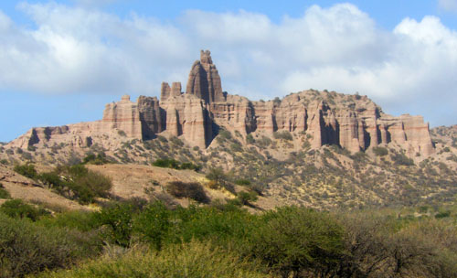 Bolivia, Oruro to Villazon train - rock formations