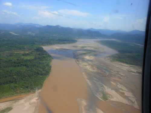 Bolivia, Rurrenabaque - view of river Beni from the plane