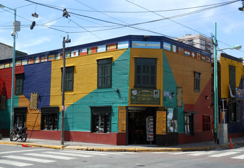 Buenos Aires, La Boca - colourful facade of a shop at Lucia's corner