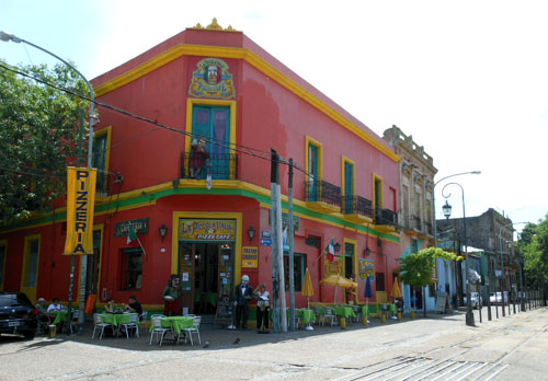 Buenos Aires, La Boca - colourful facade of pizzeria on Garibaldi street