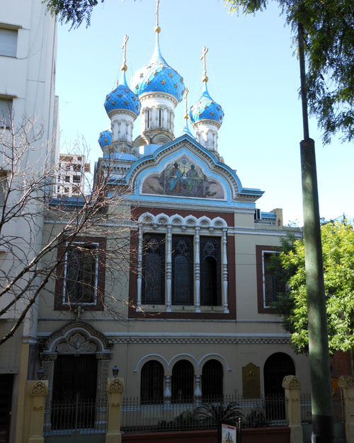 Buenos Aires, San Telmo - five blue-dome orthodox church