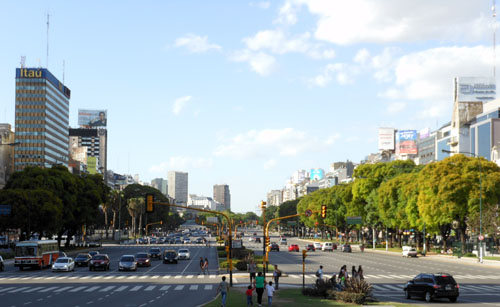 Buenos Aires - widest avenida of the city, 9 de Julio