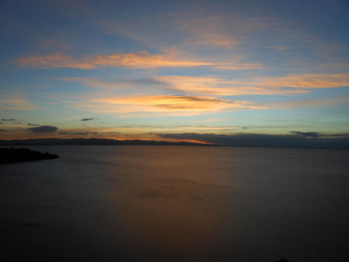 Copacabana - sunset over lake Titicaca from Cerro Calvario