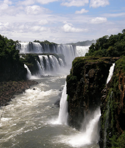 Iguazu (Argentina) - Gargatna del Diablo (Devil's Throat) waterfall in the distance