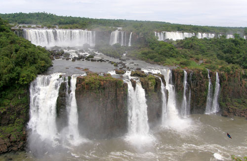 Iguazu (Brasil) - panorama of the waterfalls across the argentinean side