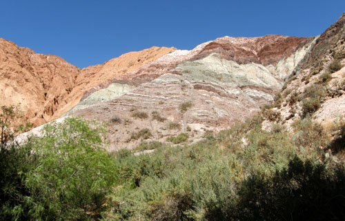 Quebrada de Purmamarca - colourful mountain range at the start of the trail