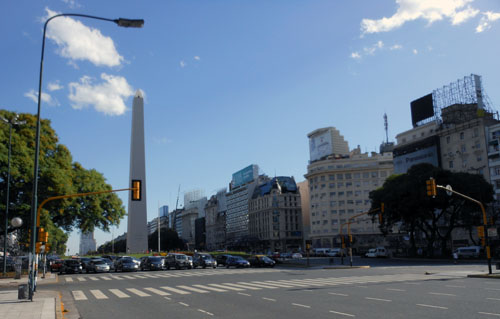 Argentina, Buenos Aires - Avenida 9 de Julio, one of the widest in the world