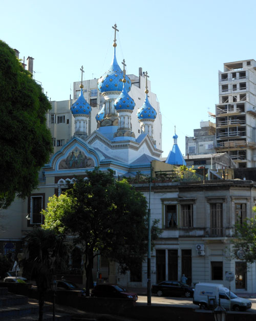 Argentina, Buenos Aires, San Telmo - unique five blue-dome orthodox church