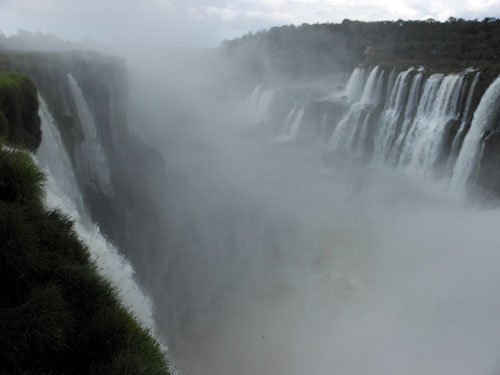 Argentina, Iguazu National Park - huge mist at the Devil's Throat (Garganta del Diablo) waterfall