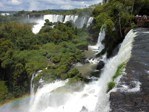 Argentina, Iguazu National Park - views across waterfalls on a path above