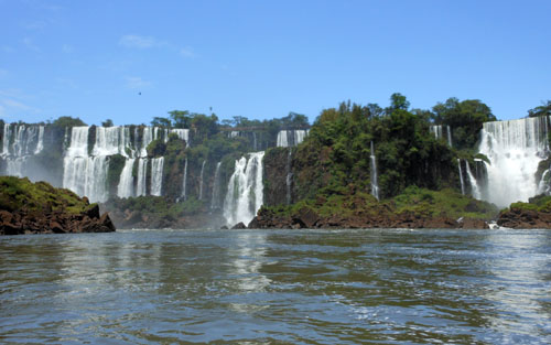 Argentina, Iguazu National Park - views of waterfalls on San Martin island crossing
