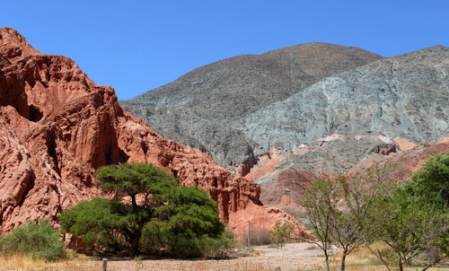 Argentina, Quebrada de Purmamarca - contrasting colours and interesting rock formations