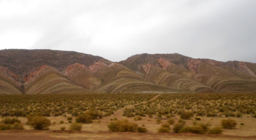 Argentina, San Salvador de Jujuy - colourful mountains on the way to