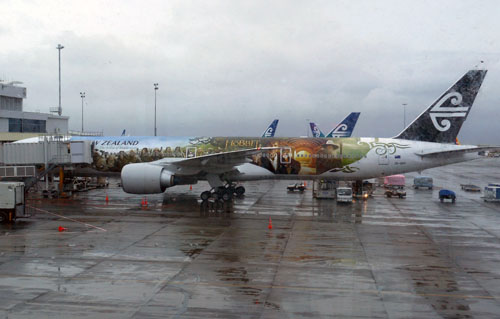 Auckland - Air Pacific plane advertising The Hobbit movie