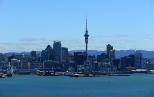 Auckland - panorama of the business district with the famous Sky Tower landmark