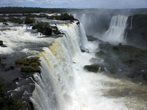 Brazil, Iguazu National Park - Devil's Throat (Garganta del Diablo) waterfall from the highest viewing platform