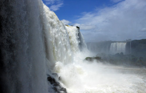 Brazil, Iguazu National Park - wall of water on side of the Devil's Throat (Garganta del Diablo) waterfall
