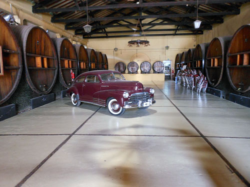 Maipu, Baudron winery - old huge wine barrels