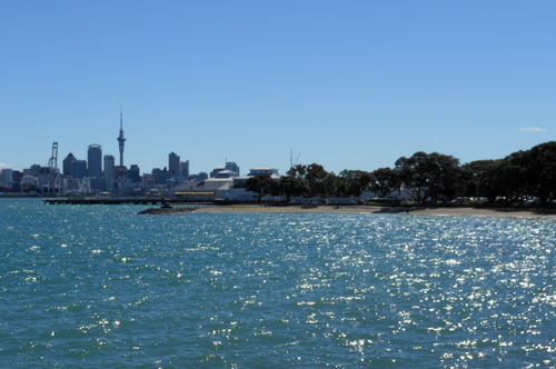Devonport beach and view of the Auckland's CBD