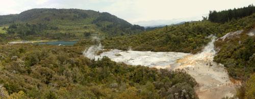 New Zealand, North Island - Orakei Korako, panorama of the thermal area