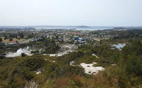 New Zealand, North Island - panorama of Rotorua thermal area from the Whaka lookout in the redwoods