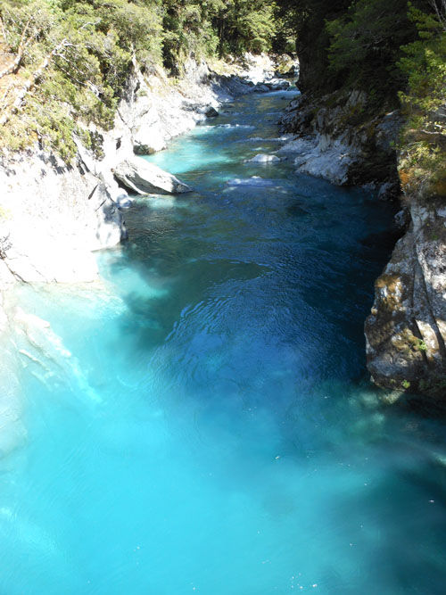 New Zealand, South Island - crystal clear and very cold water at Blue Pools