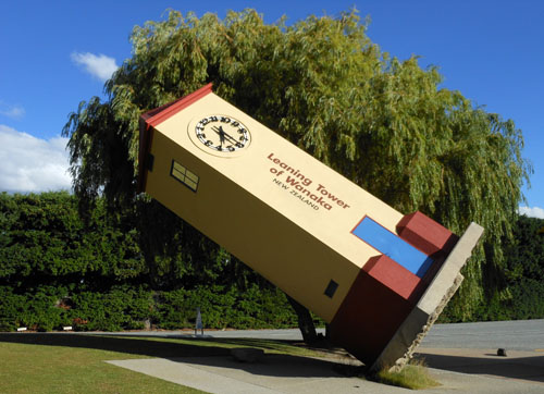 New Zealand, South Island - Wanaka, leaning tower at The Puzzling World